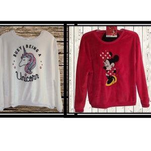 Sweaters - Unicorn & Minnie Mouse Plush Sweatshirts JR XXL